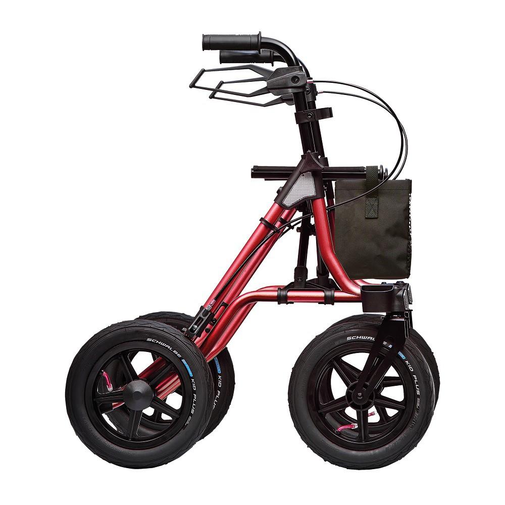 רולטור 4 גלגלי אויר עם סלסלה . אדום שחור