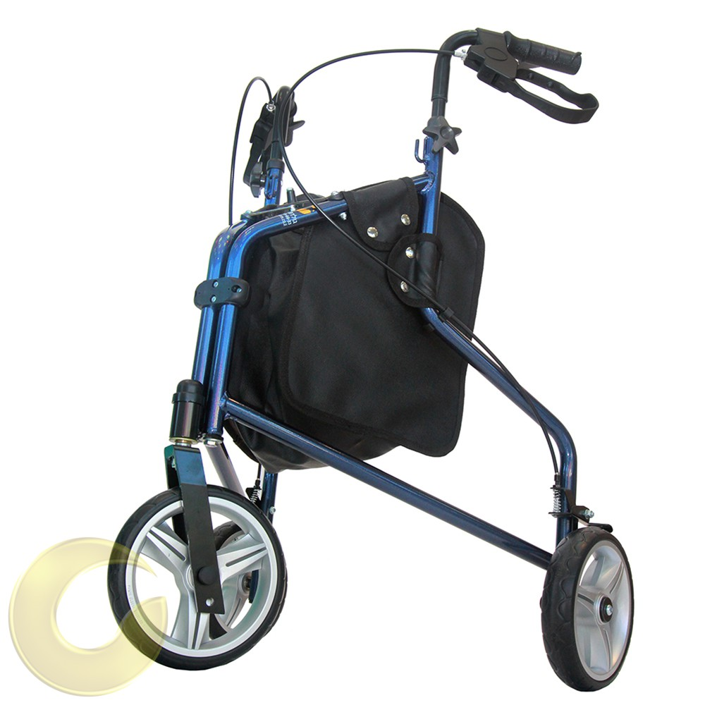 רולטור 3 גלגלים Lago עם גלגלים רכים - כחול שחור