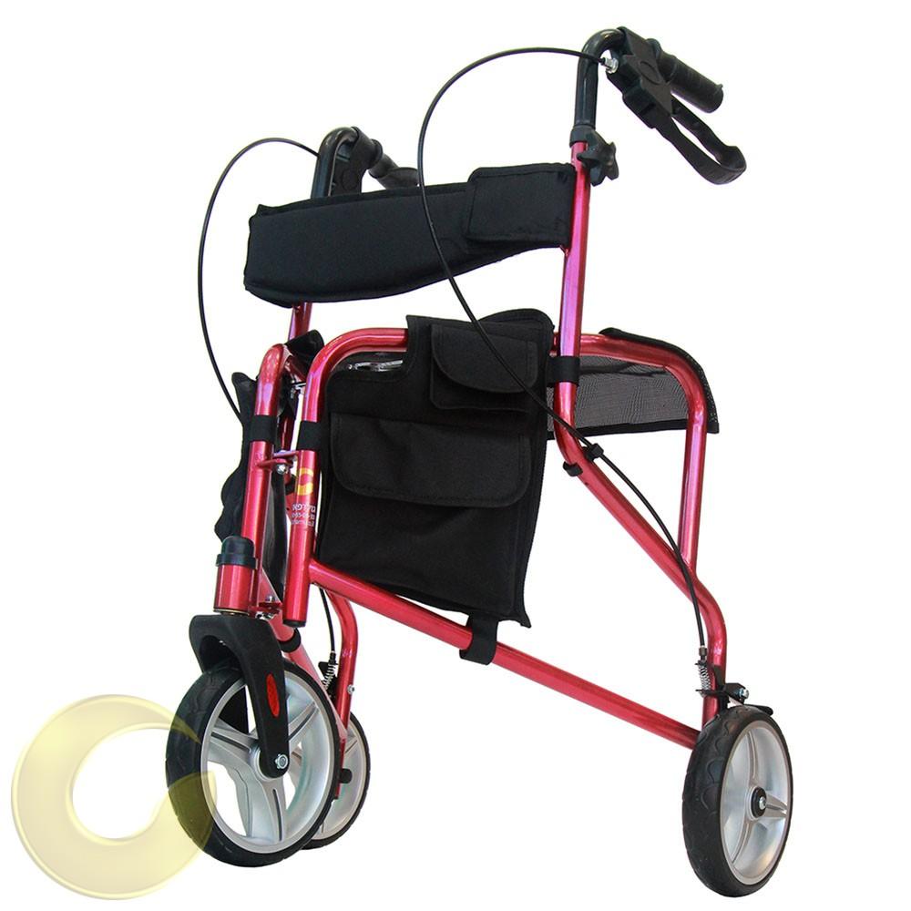 רולטור 3 גלגלי גומי רך עם מושב ומשענת גב