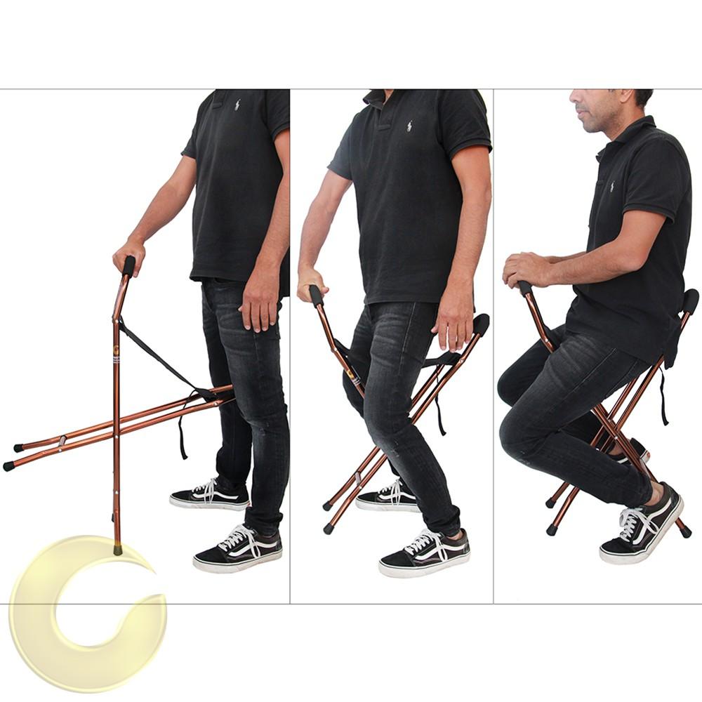 מקל הליכה עם כסא לכבדי משקל - מצבים שונים