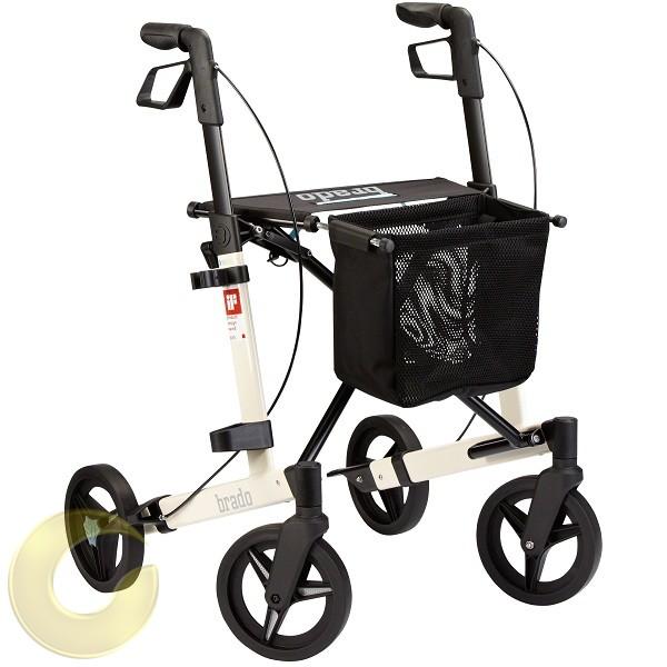 רולטור 4 גלגלים לבן שחור עם סלסלה